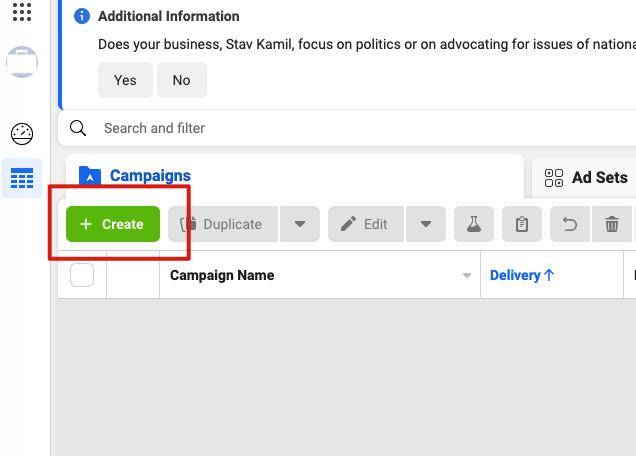 כפתור הקמת קמפיין פייסבוק